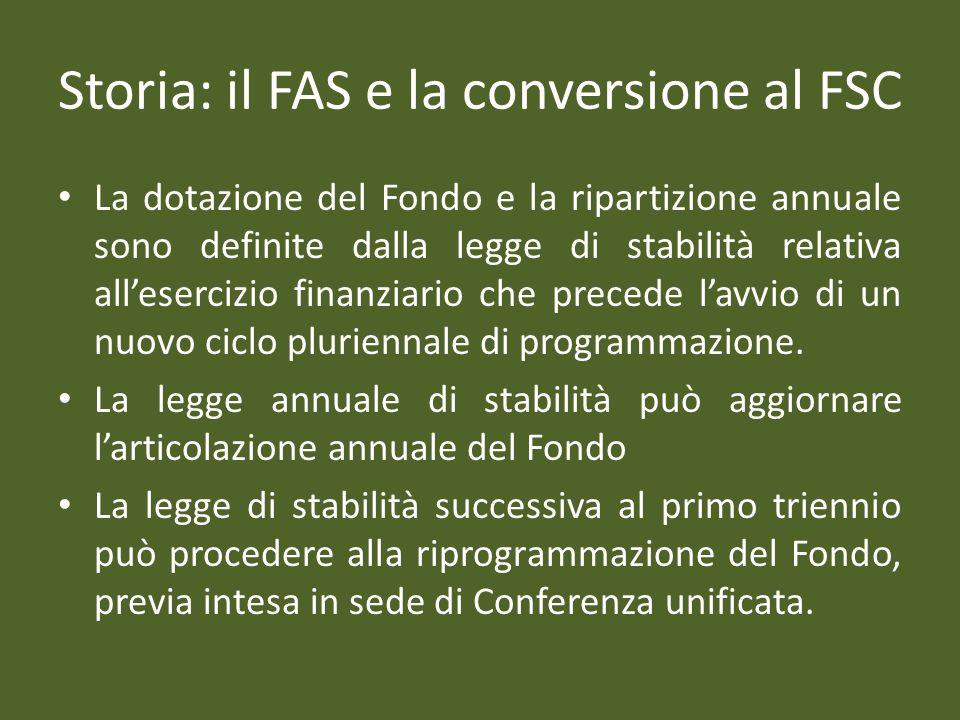 Storia: il FAS e la conversione al FSC La dotazione del Fondo e la ripartizione annuale sono definite dalla legge di stabilità relativa allesercizio finanziario che precede lavvio di un nuovo ciclo pluriennale di programmazione.