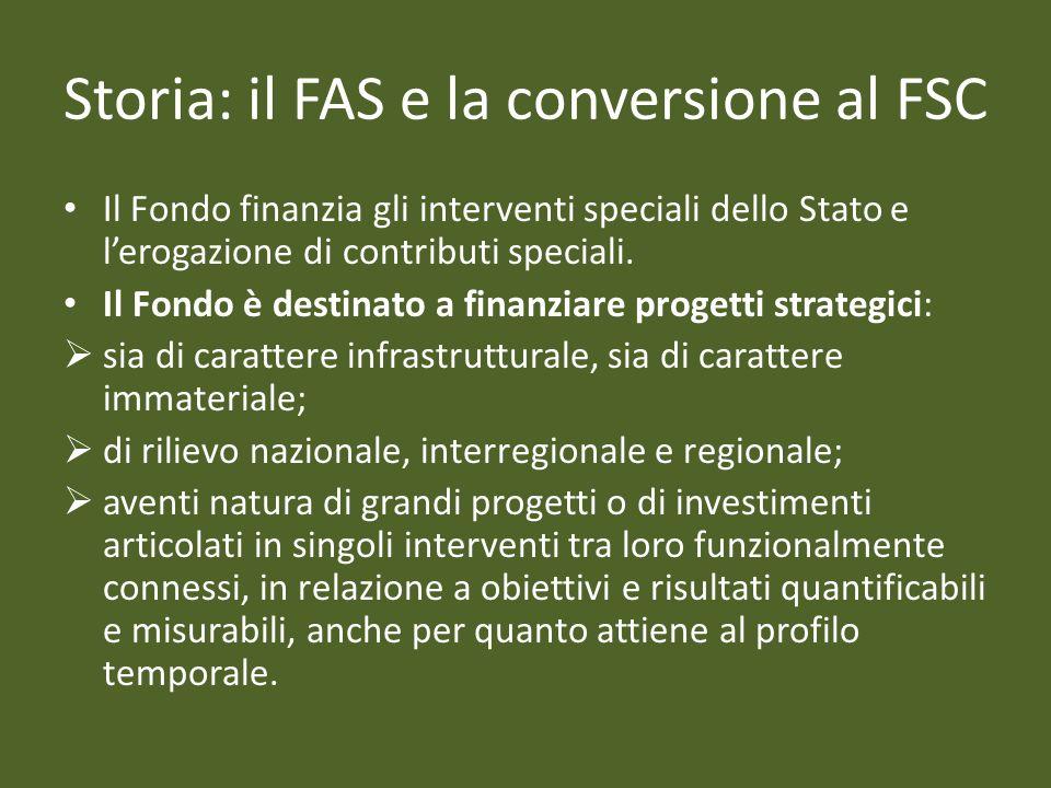 Storia: il FAS e la conversione al FSC Il Fondo finanzia gli interventi speciali dello Stato e lerogazione di contributi speciali. Il Fondo è destinat