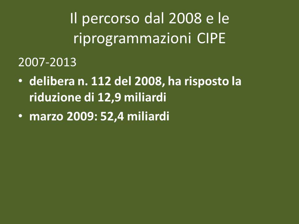 Il percorso dal 2008 e le riprogrammazioni CIPE 2007-2013 delibera n. 112 del 2008, ha risposto la riduzione di 12,9 miliardi marzo 2009: 52,4 miliard