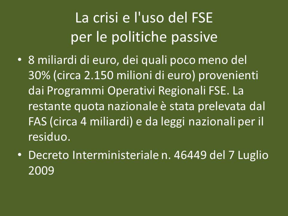 La crisi e l'uso del FSE per le politiche passive 8 miliardi di euro, dei quali poco meno del 30% (circa 2.150 milioni di euro) provenienti dai Progra