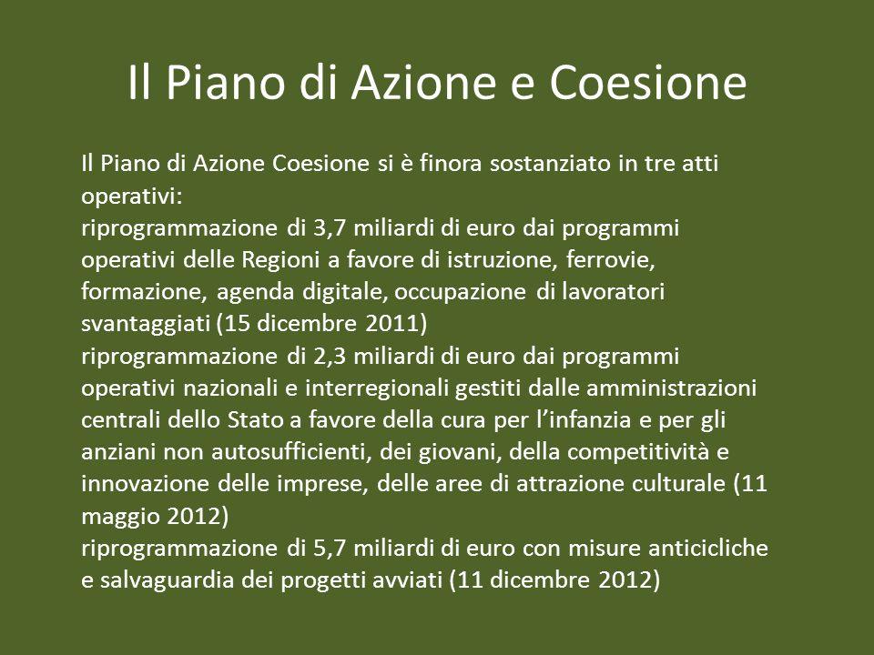Il Piano di Azione e Coesione Il Piano di Azione Coesione si è finora sostanziato in tre atti operativi: riprogrammazione di 3,7 miliardi di euro dai
