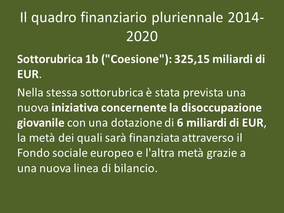 Il quadro finanziario pluriennale 2014- 2020 Sottorubrica 1b ( Coesione ): 325,15 miliardi di EUR.