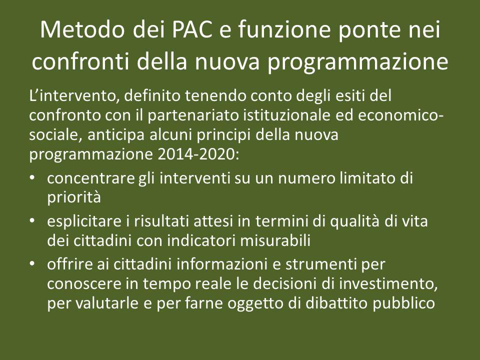 Metodo dei PAC e funzione ponte nei confronti della nuova programmazione Lintervento, definito tenendo conto degli esiti del confronto con il partenar