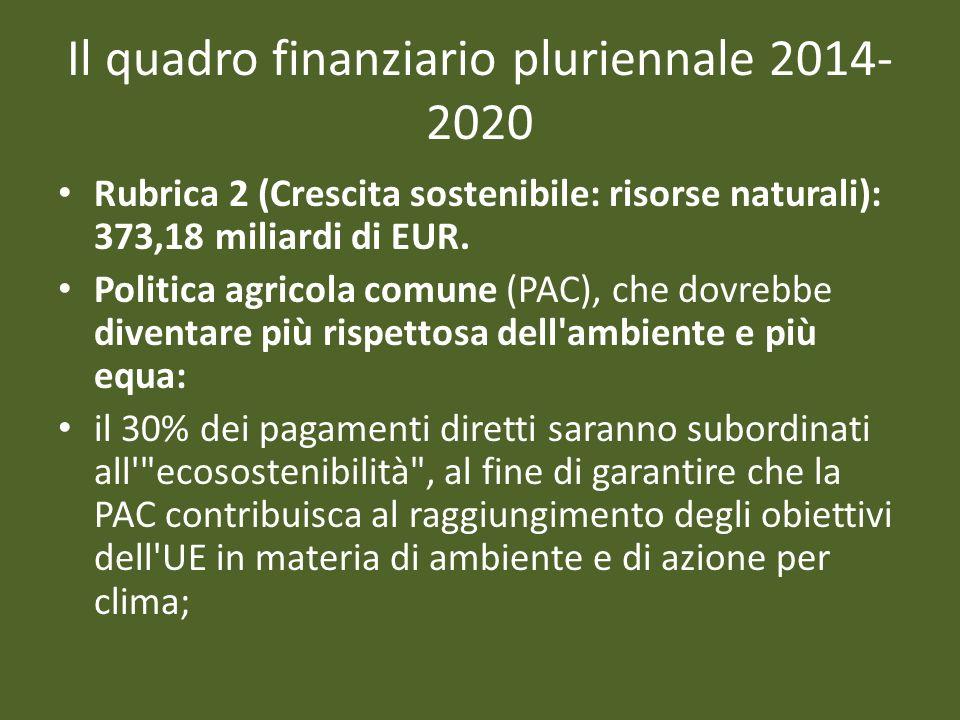 Il quadro finanziario pluriennale 2014- 2020 Rubrica 2 (Crescita sostenibile: risorse naturali): 373,18 miliardi di EUR. Politica agricola comune (PAC
