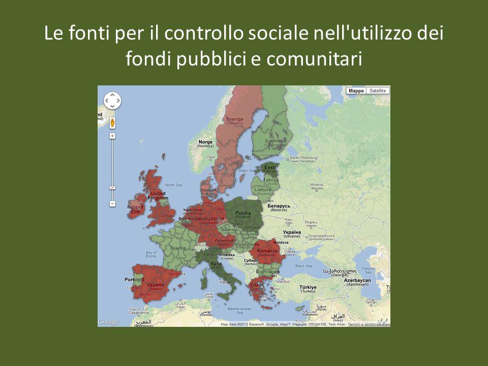 Le fonti per il controllo sociale nell'utilizzo dei fondi pubblici e comunitari