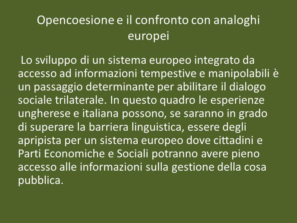 Opencoesione e il confronto con analoghi europei Lo sviluppo di un sistema europeo integrato da accesso ad informazioni tempestive e manipolabili è un passaggio determinante per abilitare il dialogo sociale trilaterale.