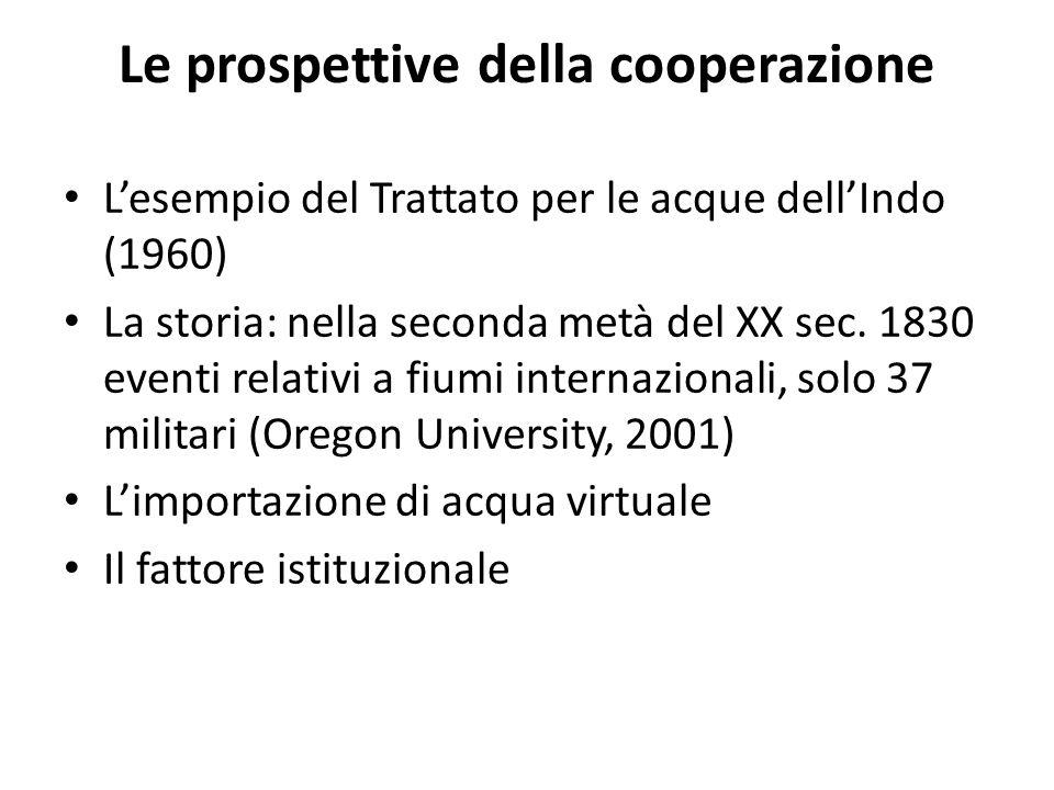Le prospettive della cooperazione Lesempio del Trattato per le acque dellIndo (1960) La storia: nella seconda metà del XX sec.