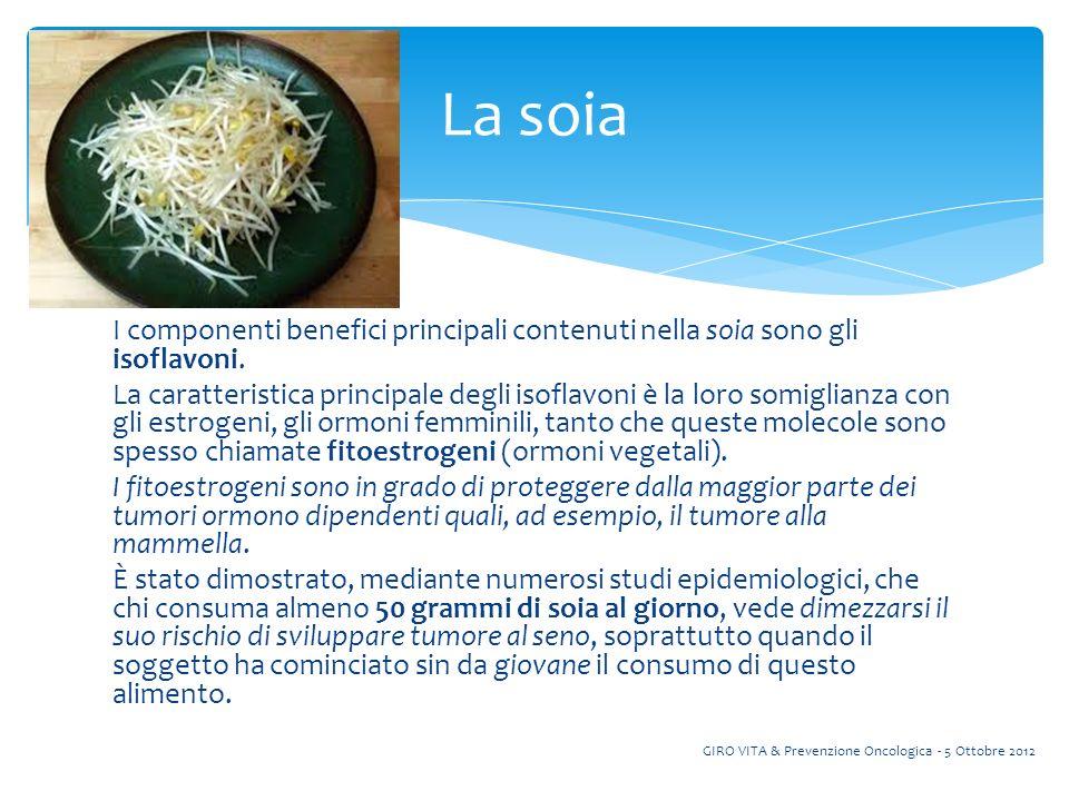 I componenti benefici principali contenuti nella soia sono gli isoflavoni.