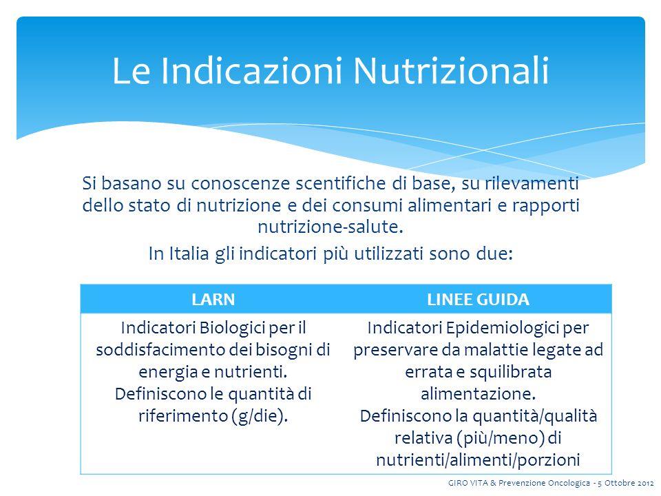 Si basano su conoscenze scentifiche di base, su rilevamenti dello stato di nutrizione e dei consumi alimentari e rapporti nutrizione-salute.