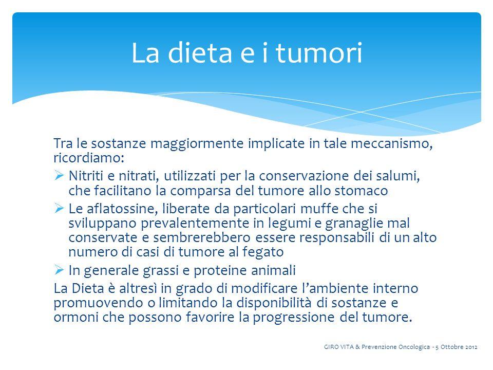 Tra i tumori che risentono di più della quantità e della qualità dei cibi, troviamo ovviamente quelli a carico dellapparato gastro intestinale, in particolare quelli dellesofago, dello stomaco e del colon-retto.
