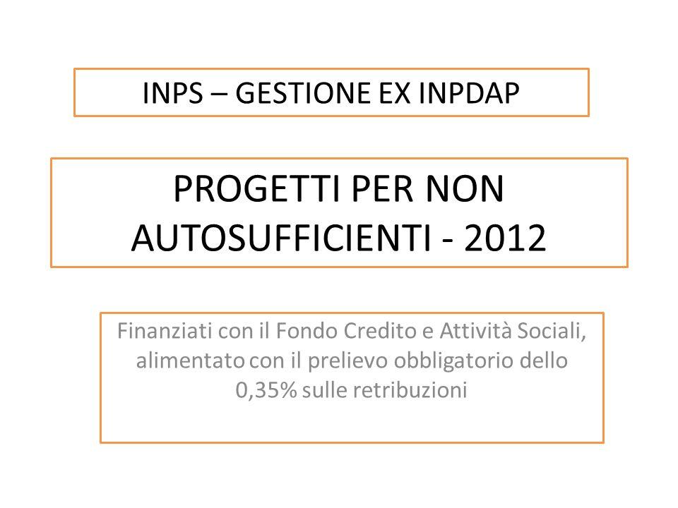 PROGETTI PER NON AUTOSUFFICIENTI - 2012 Finanziati con il Fondo Credito e Attività Sociali, alimentato con il prelievo obbligatorio dello 0,35% sulle