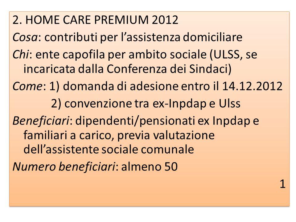 2. HOME CARE PREMIUM 2012 Cosa: contributi per lassistenza domiciliare Chi: ente capofila per ambito sociale (ULSS, se incaricata dalla Conferenza dei
