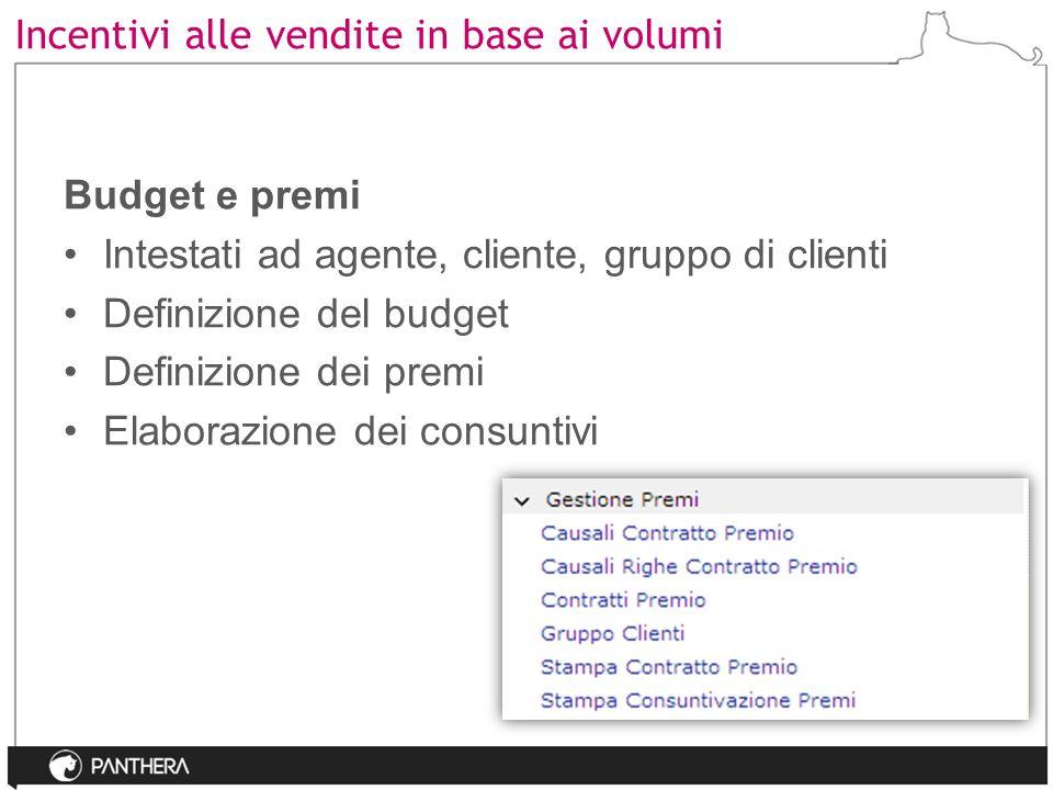 Incentivi alle vendite in base ai volumi Budget e premi Intestati ad agente, cliente, gruppo di clienti Definizione del budget Definizione dei premi E