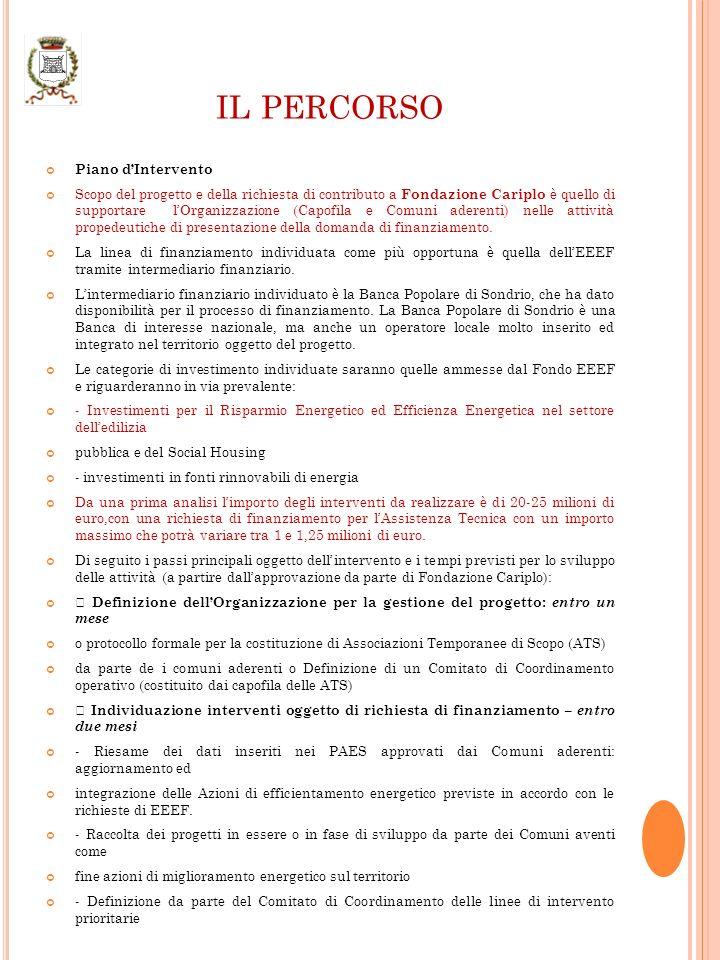 IL PERCORSO Piano dIntervento Scopo del progetto e della richiesta di contributo a Fondazione Cariplo è quello di supportare lOrganizzazione (Capofila e Comuni aderenti) nelle attività propedeutiche di presentazione della domanda di finanziamento.
