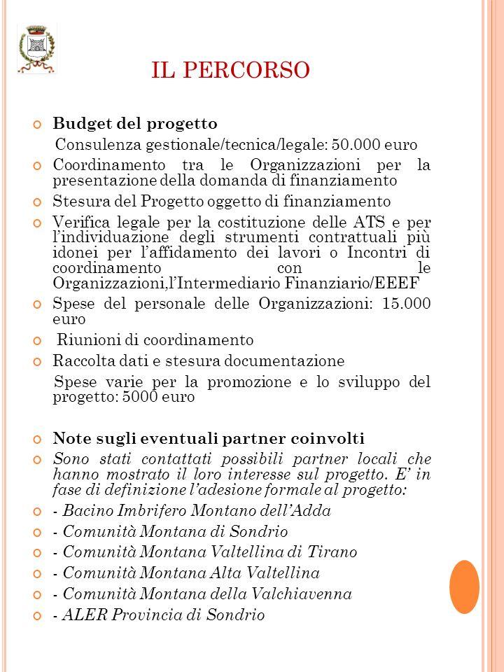 IL PERCORSO Budget del progetto Consulenza gestionale/tecnica/legale: 50.000 euro Coordinamento tra le Organizzazioni per la presentazione della domanda di finanziamento Stesura del Progetto oggetto di finanziamento Verifica legale per la costituzione delle ATS e per lindividuazione degli strumenti contrattuali più idonei per laffidamento dei lavori o Incontri di coordinamento con le Organizzazioni,lIntermediario Finanziario/EEEF Spese del personale delle Organizzazioni: 15.000 euro Riunioni di coordinamento Raccolta dati e stesura documentazione Spese varie per la promozione e lo sviluppo del progetto: 5000 euro Note sugli eventuali partner coinvolti Sono stati contattati possibili partner locali che hanno mostrato il loro interesse sul progetto.