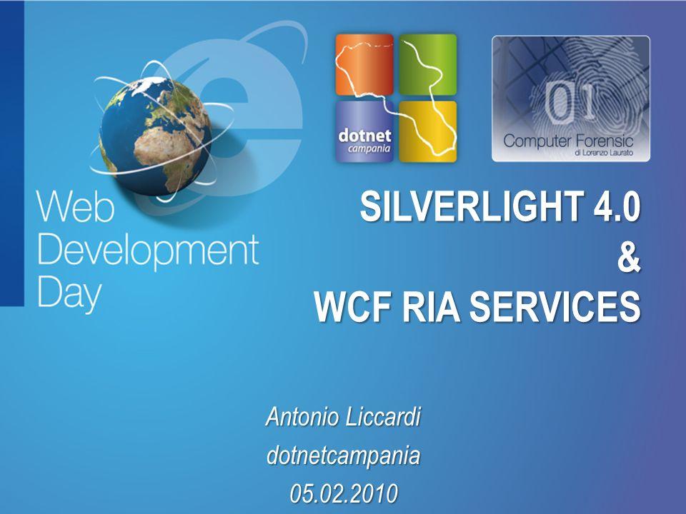 Fare clic per modificare lo stile del titolo Fare clic per modificare stili del testo dello schema – Secondo livello Terzo livello – Quarto livello » Quinto livello SILVERLIGHT 4.0 & WCF RIA SERVICES Antonio Liccardi dotnetcampania05.02.2010