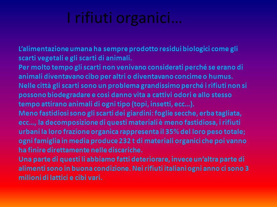 I rifiuti organici… Lalimentazione umana ha sempre prodotto residui biologici come gli scarti vegetali e gli scarti di animali.