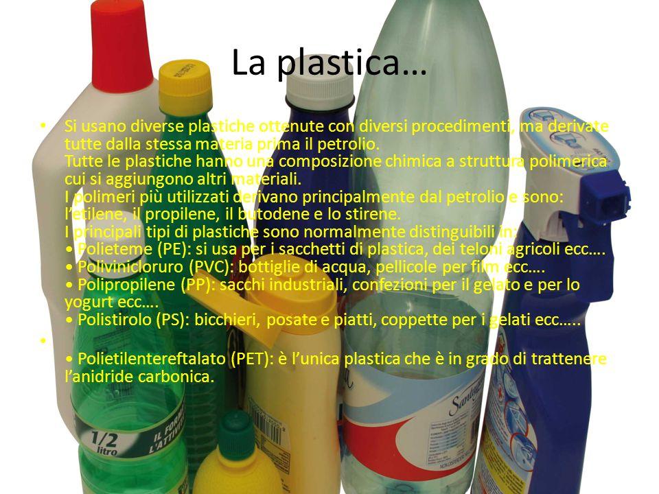 La plastica… Si usano diverse plastiche ottenute con diversi procedimenti, ma derivate tutte dalla stessa materia prima il petrolio.