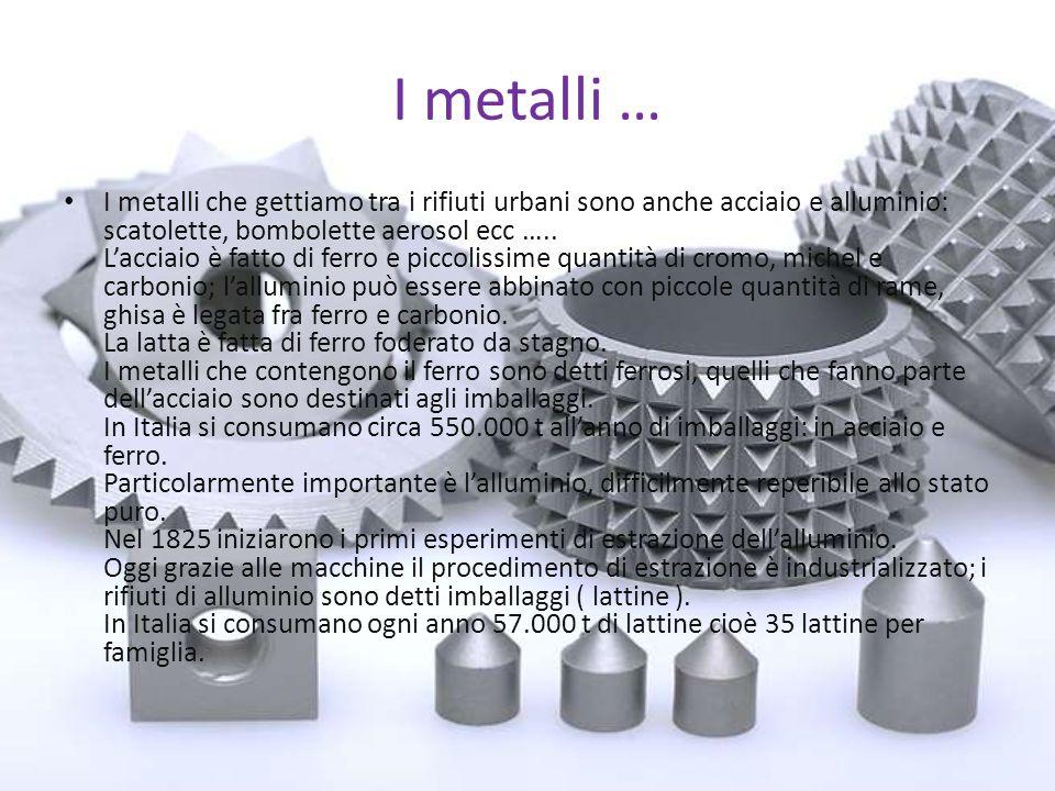 I metalli … I metalli che gettiamo tra i rifiuti urbani sono anche acciaio e alluminio: scatolette, bombolette aerosol ecc …..