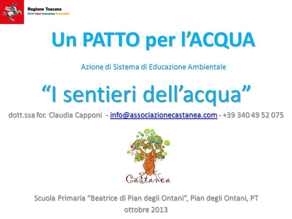 I sentieri dellacqua dott.ssa for. Claudia Capponi - info@associazionecastanea.com - +39 340 49 52 075 info@associazionecastanea.com Scuola Primaria B