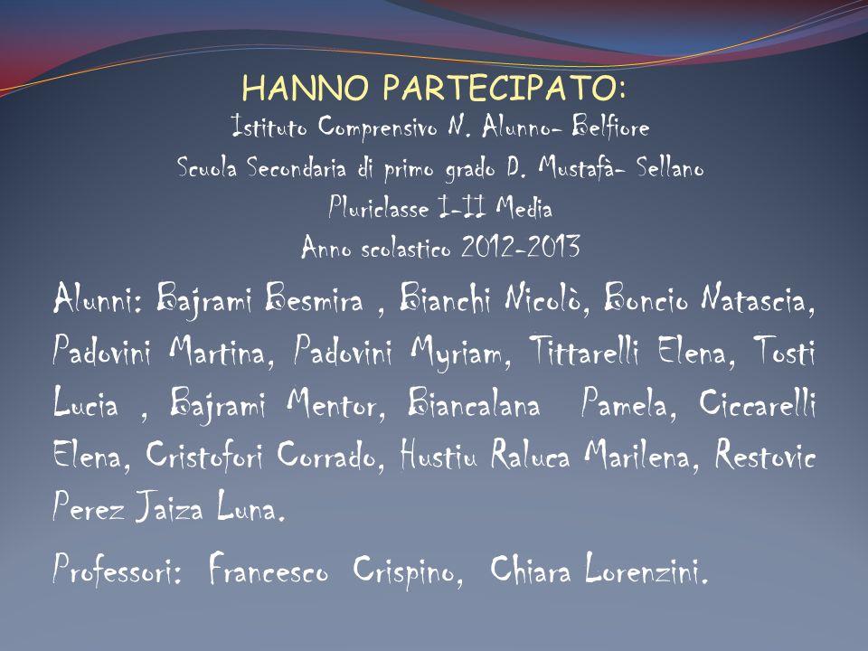 HANNO PARTECIPATO: Alunni: Bajrami Besmira, Bianchi Nicolò, Boncio Natascia, Padovini Martina, Padovini Myriam, Tittarelli Elena, Tosti Lucia, Bajrami