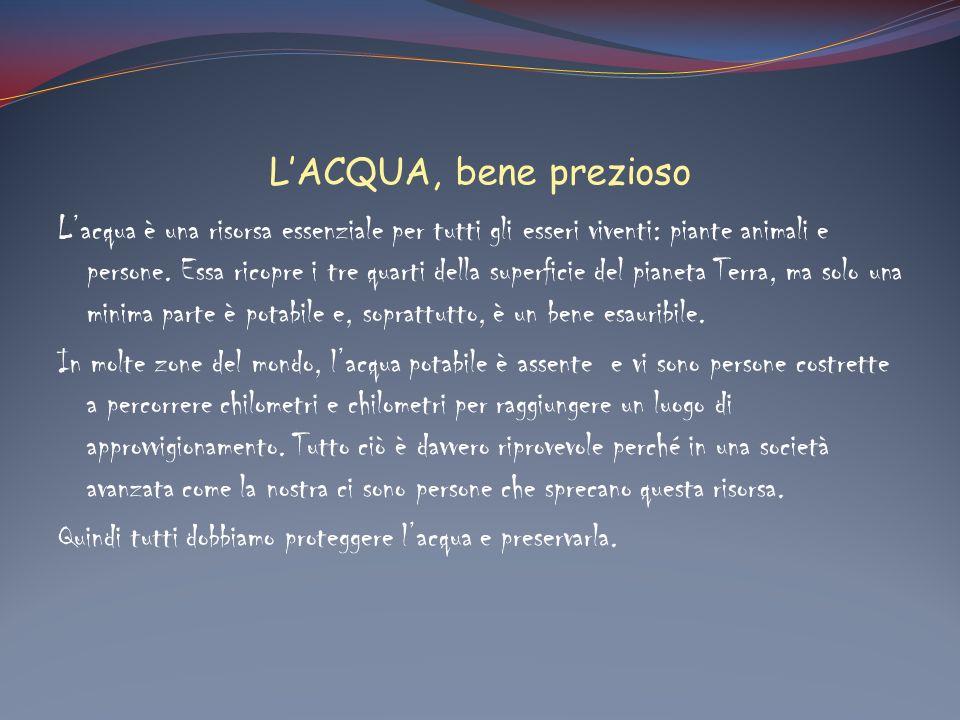 LACQUA, bene prezioso Lacqua è una risorsa essenziale per tutti gli esseri viventi: piante animali e persone. Essa ricopre i tre quarti della superfic