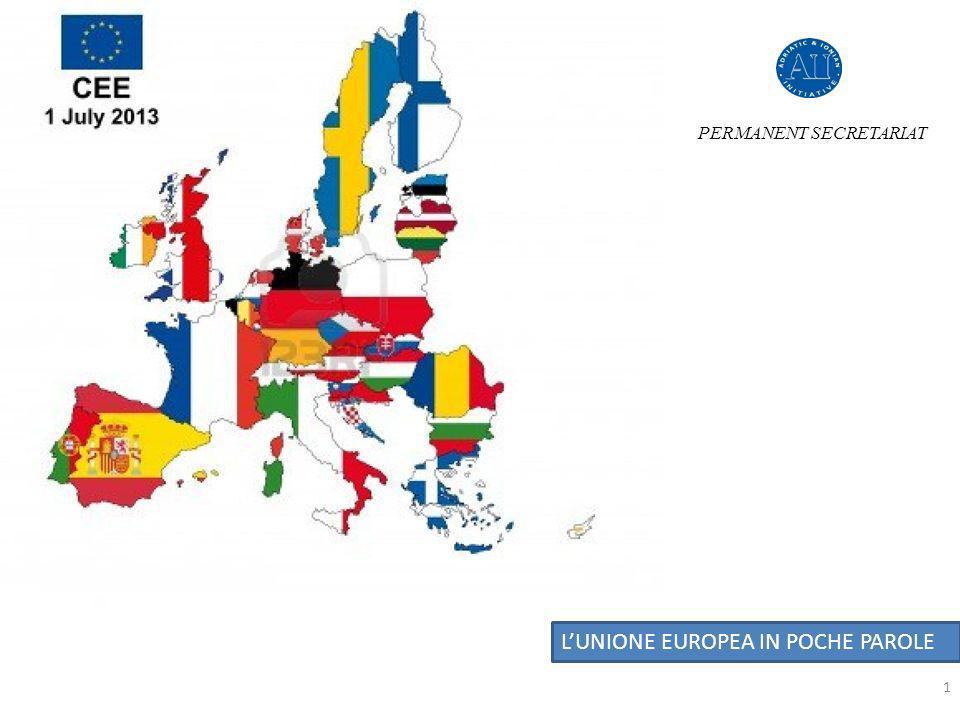 STRATEGIA EUROPEA PER LA REGIONE ADRIATICO – IONICA (EUSAIR) Dal Discussion Paper al processo di Consultazione e progettazione PERMANENT SECRETARIAT LUNIONE EUROPEA IN POCHE PAROLE STRATEGIA EUROEPA (EUSAIR)