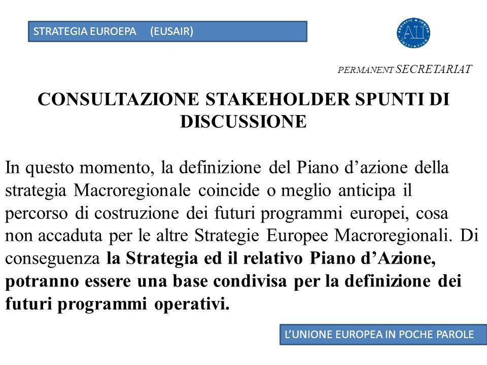 STRATEGIA EUROEPA (EUSAIR) LUNIONE EUROPEA IN POCHE PAROLE CONSULTAZIONE STAKEHOLDER SPUNTI DI DISCUSSIONE In questo momento, la definizione del Piano dazione della strategia Macroregionale coincide o meglio anticipa il percorso di costruzione dei futuri programmi europei, cosa non accaduta per le altre Strategie Europee Macroregionali.