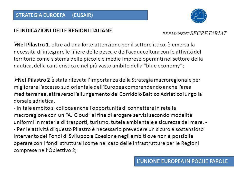 STRATEGIA EUROEPA (EUSAIR) LUNIONE EUROPEA IN POCHE PAROLE LE INDICAZIONI DELLE REGIONI ITALIANE Nel Pilastro 1.