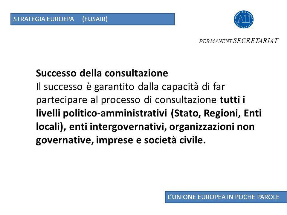 LUNIONE EUROPEA IN POCHE PAROLE STRATEGIA EUROEPA (EUSAIR) PERMANENT SECRETARIAT CONSULTAZIONE STAKEHOLDER SPUNTI DI DISCUSSIONE In questo momento, la definizione del Piano dazione della strategia Macroregionale coincide o meglio anticipa il percorso di costruzione dei futuri programmi europei, cosa non accaduta per le altre Strategie Europee Macroregionali.