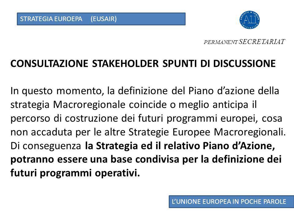 STRATEGIA EUROEPA (EUSAIR) LUNIONE EUROPEA IN POCHE PAROLE Pilastro 4 Incrementare lattrattività regionale Aumentare lattrattività turistica della regione supportando lo sviluppo sostenibile del turismo costiero, marittimo e dellentroterra.