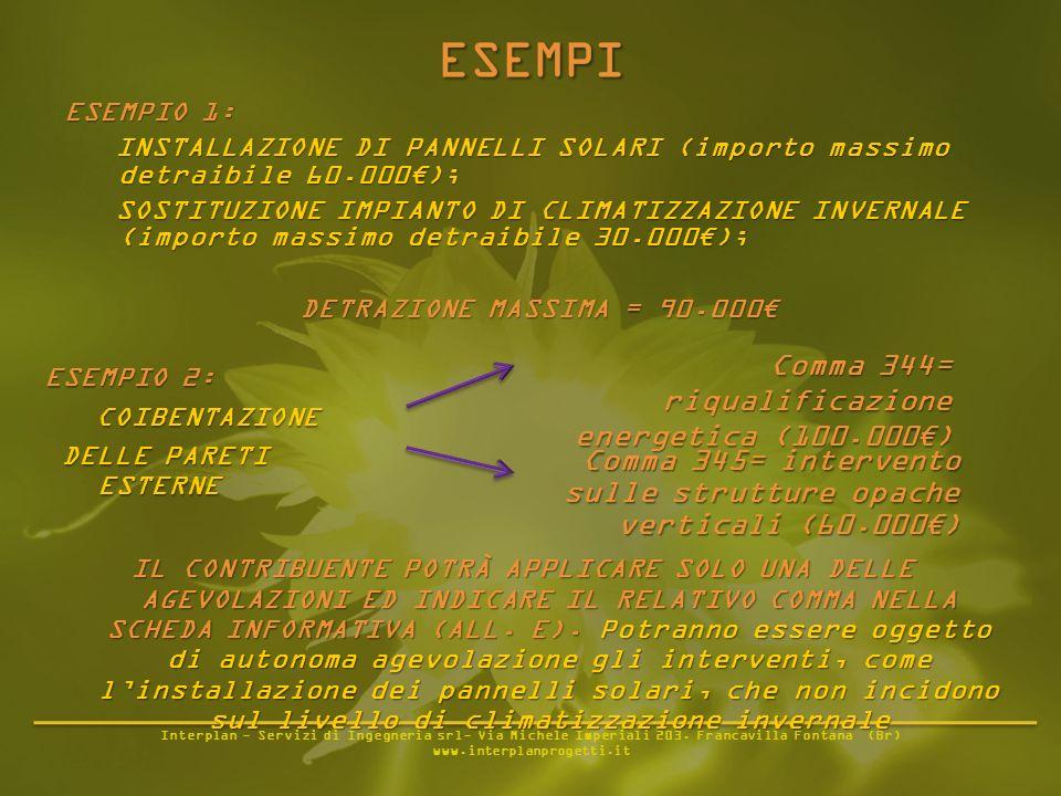 Interplan - Servizi di Ingegneria srl- Via Michele Imperiali 203. Francavilla Fontana (Br) www.interplanprogetti.it ESEMPIO 1: INSTALLAZIONE DI PANNEL
