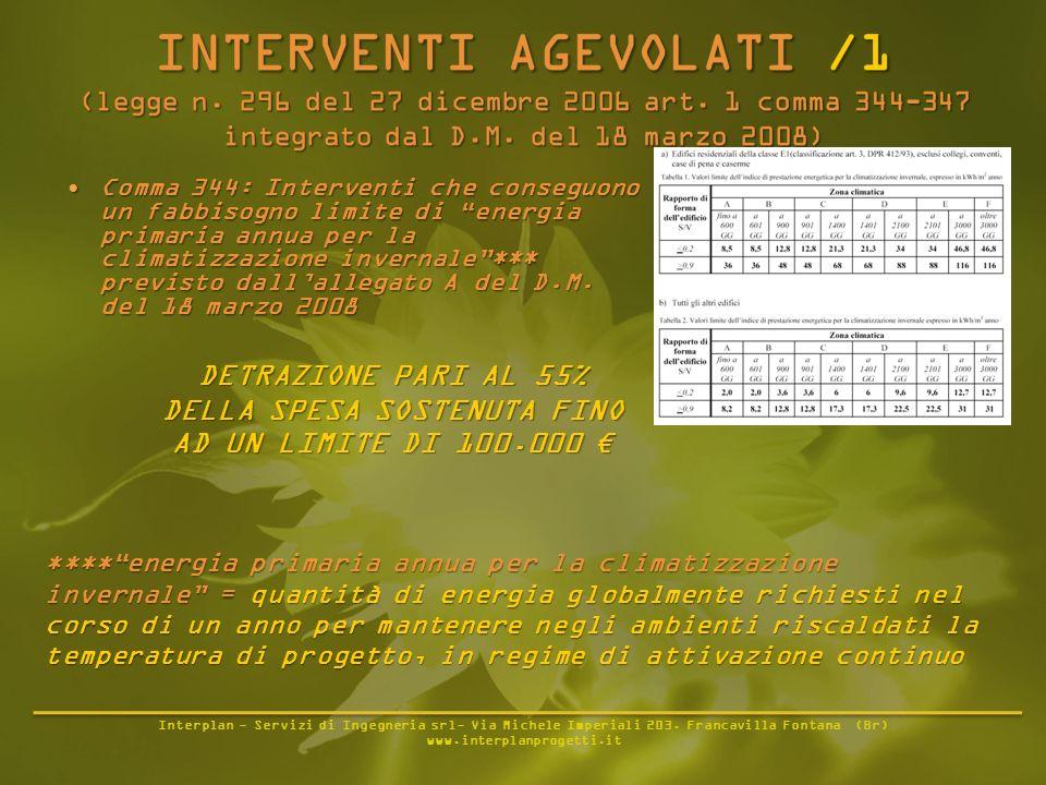 Interplan - Servizi di Ingegneria srl- Via Michele Imperiali 203. Francavilla Fontana (Br) www.interplanprogetti.it Comma 344: Interventi che conseguo