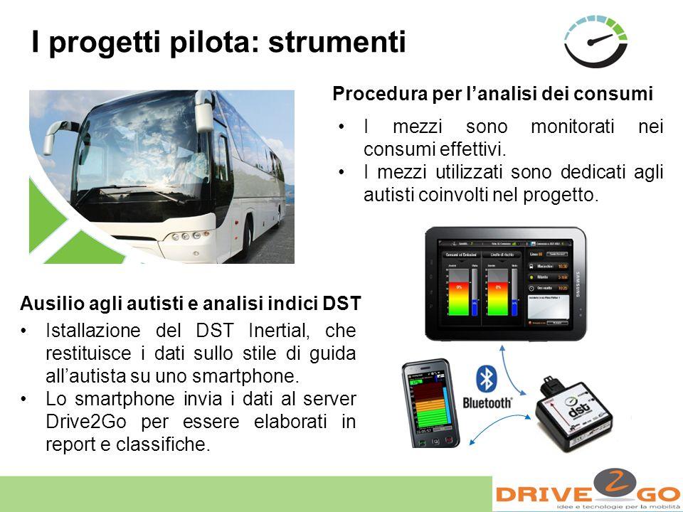 I progetti pilota: strumenti I mezzi sono monitorati nei consumi effettivi. I mezzi utilizzati sono dedicati agli autisti coinvolti nel progetto. Ausi