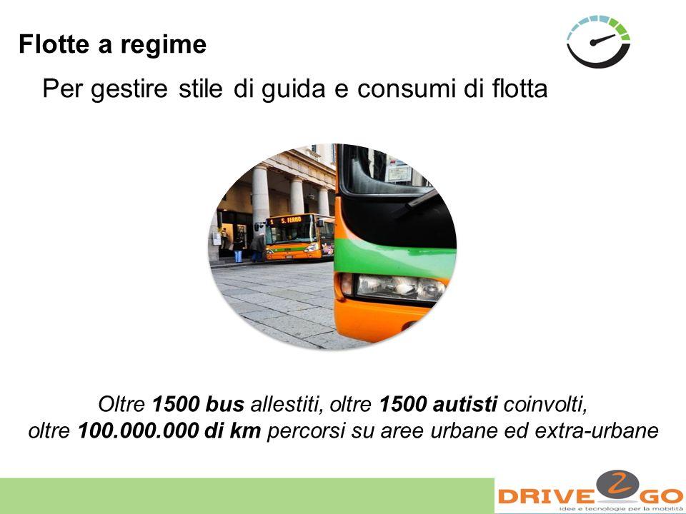 Flotte a regime Per gestire stile di guida e consumi di flotta Oltre 1500 bus allestiti, oltre 1500 autisti coinvolti, oltre 100.000.000 di km percors