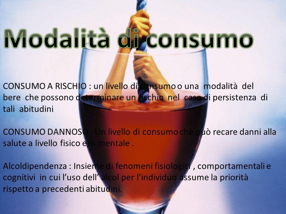 CONSUMO A RISCHIO : un livello di consumo o una modalità del bere che possono determinare un rischio nel caso di persistenza di tali abitudini CONSUMO DANNOSO : Un livello di consumo che può recare danni alla salute a livello fisico e/o mentale.