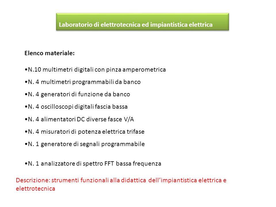 Elenco materiale: N.10 multimetri digitali con pinza amperometrica N. 4 multimetri programmabili da banco N. 4 generatori di funzione da banco N. 4 os