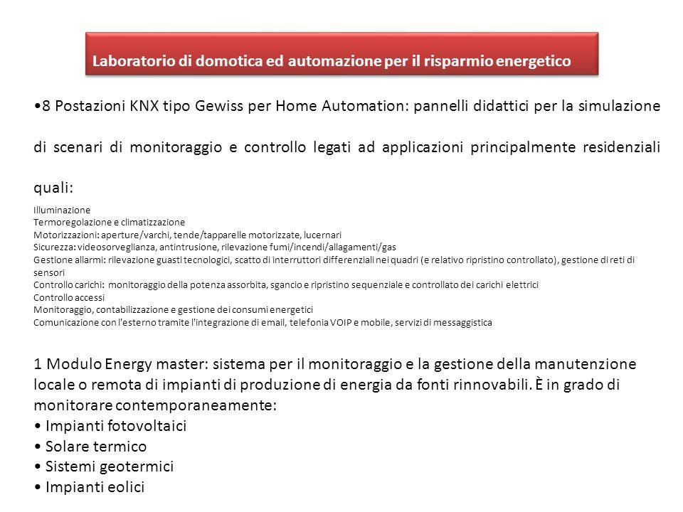 Laboratorio di domotica ed automazione per il risparmio energetico 8 Postazioni KNX tipo Gewiss per Home Automation: pannelli didattici per la simulaz