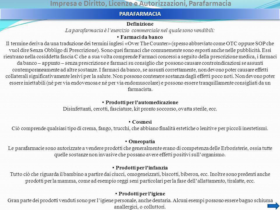 Impresa e Diritto, Licenze e Autorizzazioni, Parafarmacia Definizione La parafarmacia è lesercizio commerciale nel quale sono vendibili: Farmaci da ba