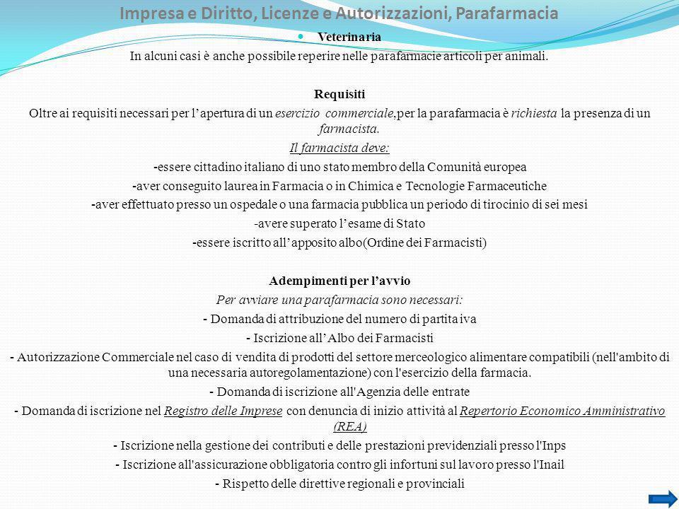 Impresa e Diritto, Licenze e Autorizzazioni, Parafarmacia Veterinaria In alcuni casi è anche possibile reperire nelle parafarmacie articoli per animal