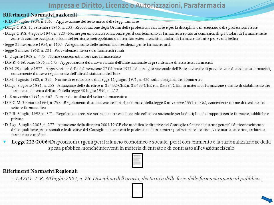 Impresa e Diritto, Licenze e Autorizzazioni, Parafarmacia Ri ferimenti Normativi nazionali · R.D. 27 luglio 1934, n.1265 - Approvazione del testo unic