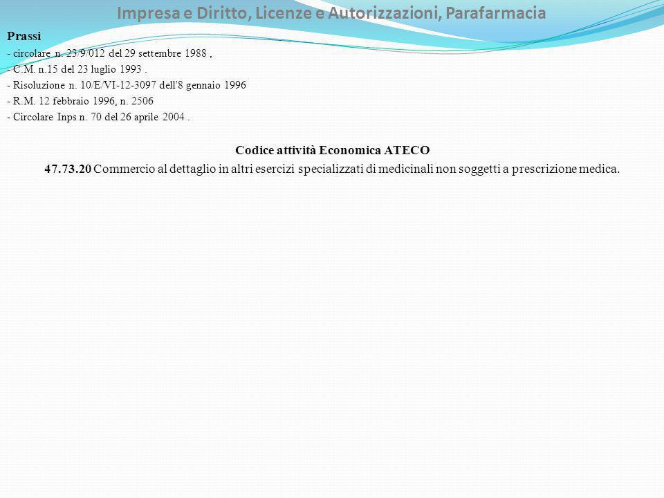 Impresa e Diritto, Licenze e Autorizzazioni, Parafarmacia Prassi - circolare n. 23/9/012 del 29 settembre 1988, - C.M. n.15 del 23 luglio 1993. - Riso
