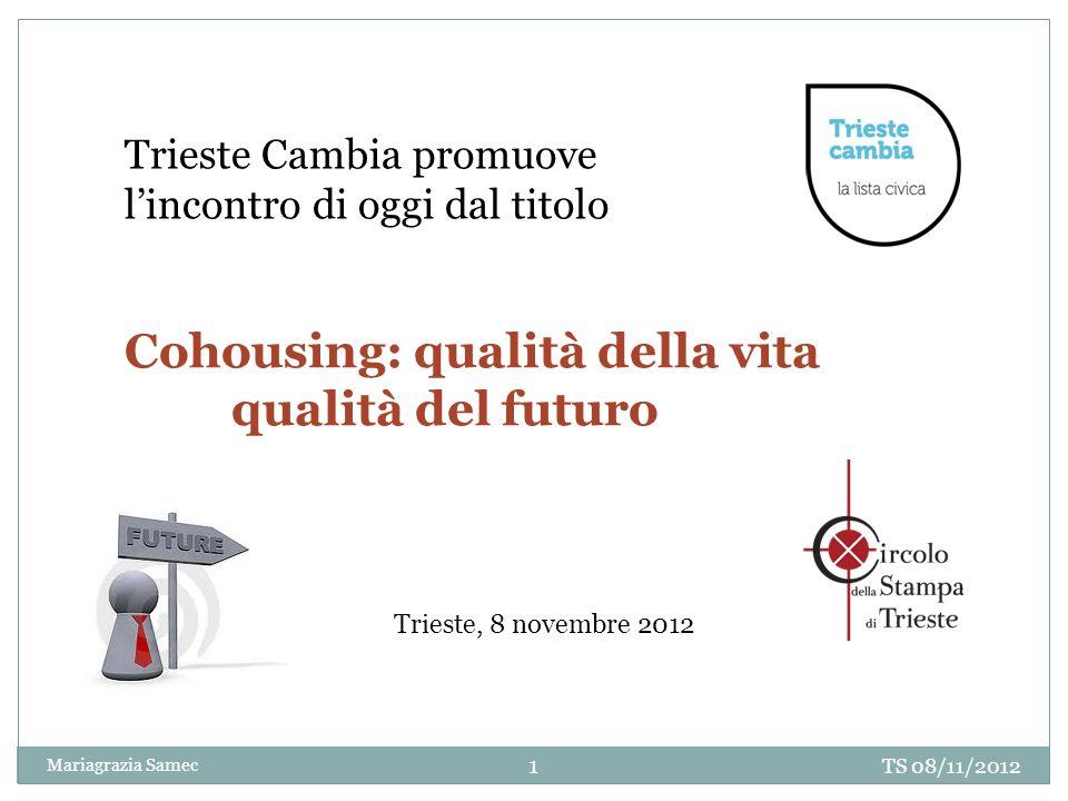 Trieste Cambia promuove lincontro di oggi dal titolo Cohousing: qualità della vita qualità del futuro TS 08/11/2012 1 Mariagrazia Samec Trieste, 8 nov
