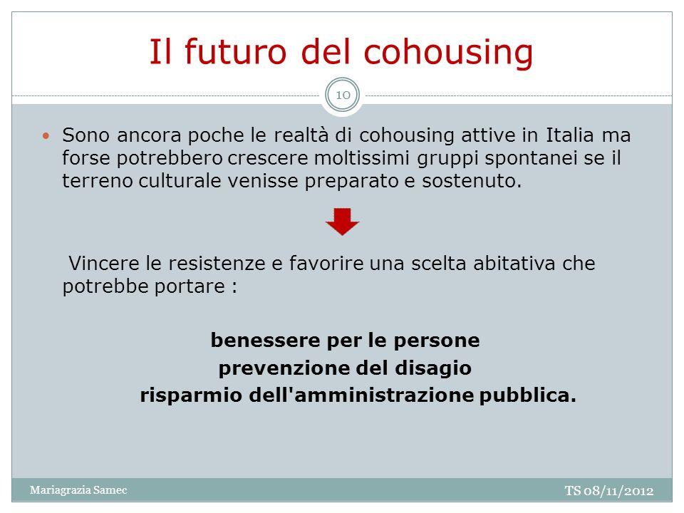 Il futuro del cohousing Sono ancora poche le realtà di cohousing attive in Italia ma forse potrebbero crescere moltissimi gruppi spontanei se il terre