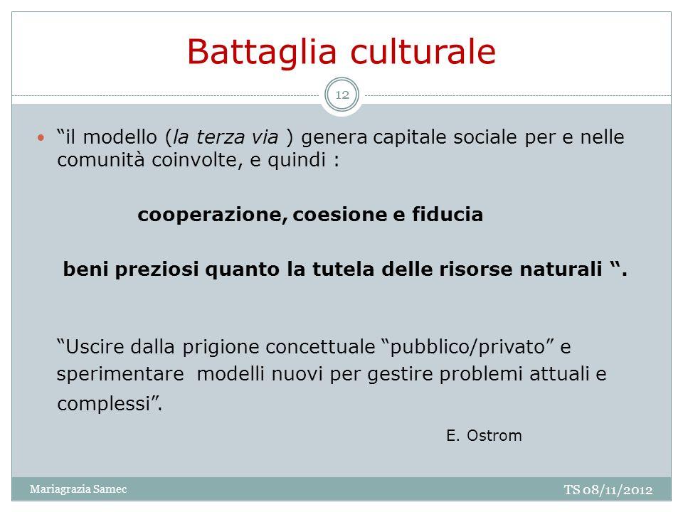 Battaglia culturale il modello (la terza via ) genera capitale sociale per e nelle comunità coinvolte, e quindi : cooperazione, coesione e fiducia ben