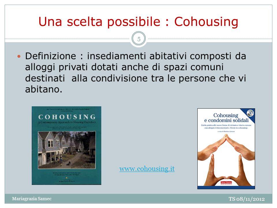 Una scelta possibile : Cohousing Definizione : insediamenti abitativi composti da alloggi privati dotati anche di spazi comuni destinati alla condivis
