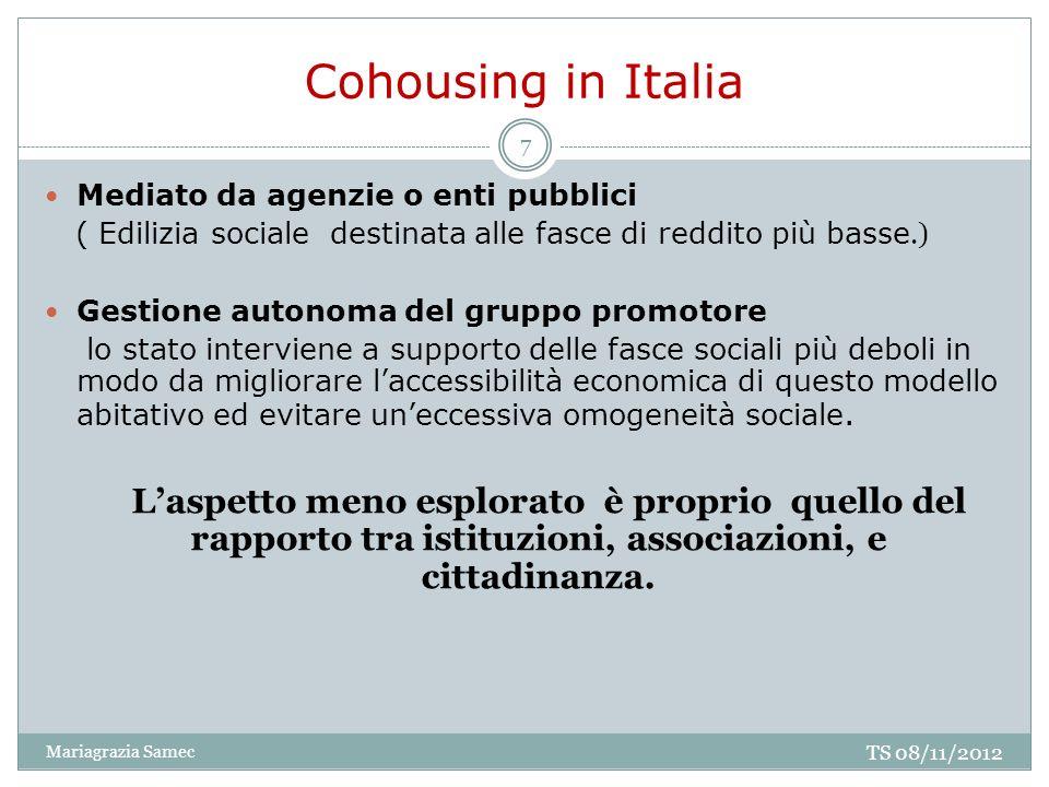 Cohousing in Italia Mediato da agenzie o enti pubblici ( Edilizia sociale destinata alle fasce di reddito più basse.) Gestione autonoma del gruppo pro
