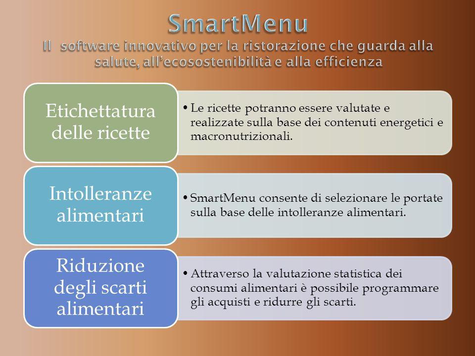 Le ricette potranno essere valutate e realizzate sulla base dei contenuti energetici e macronutrizionali. Etichettatura delle ricette SmartMenu consen