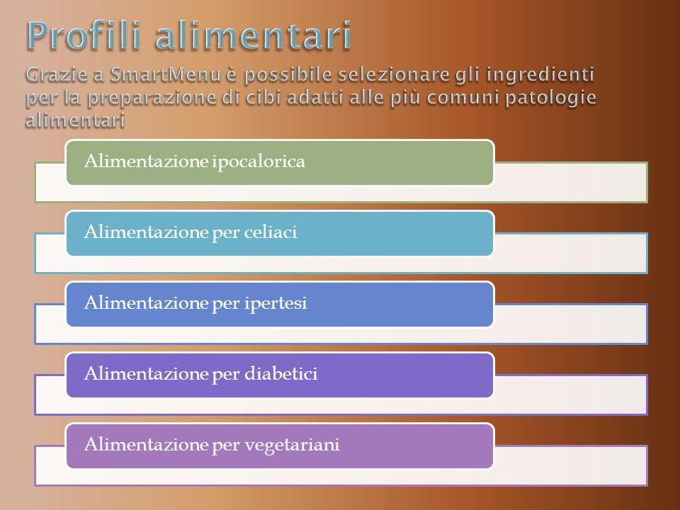 Alimentazione ipocaloricaAlimentazione per celiaciAlimentazione per ipertesiAlimentazione per diabeticiAlimentazione per vegetariani