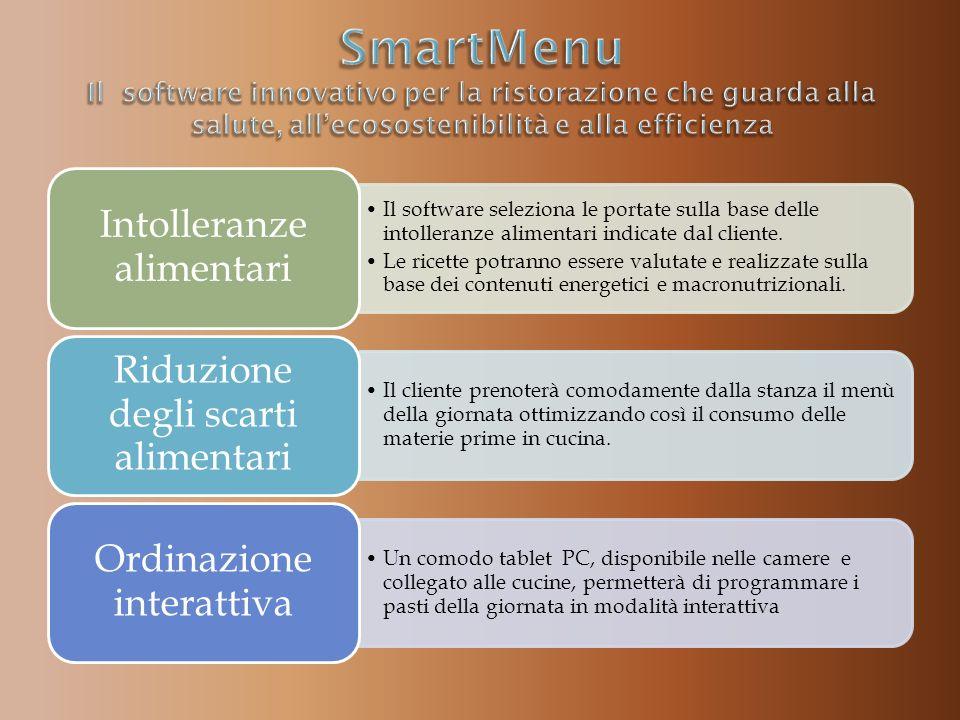 Il software seleziona le portate sulla base delle intolleranze alimentari indicate dal cliente.